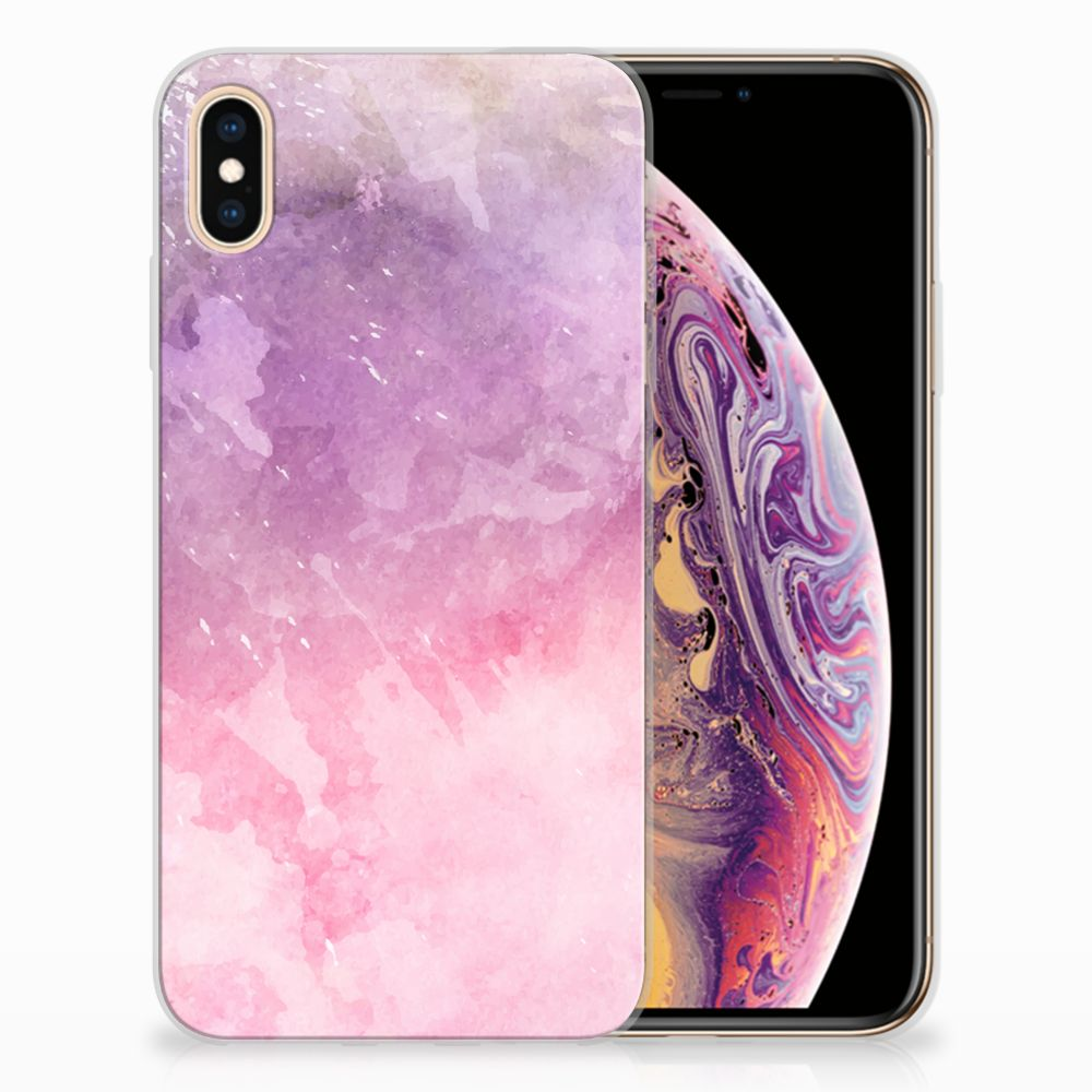 Apple iPhone Xs Max TPU Hoesje Design Pink Purple Paint