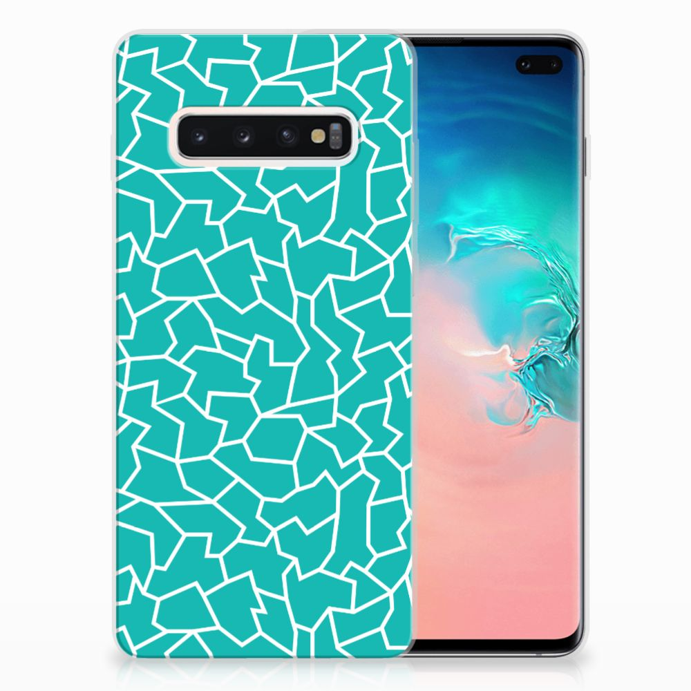 Samsung Galaxy S10 Plus Hoesje maken Cracks Blue
