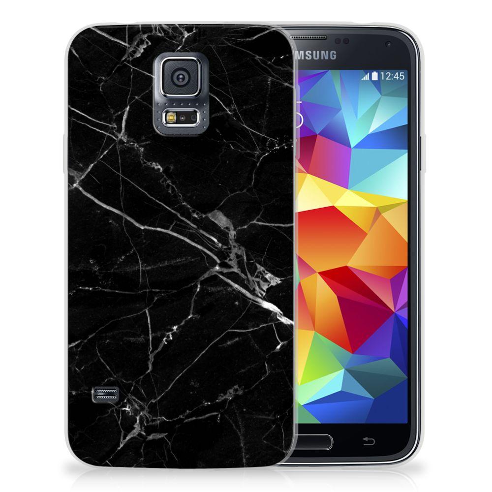 Samsung Galaxy S5 TPU Siliconen Hoesje Marmer Zwart - Origineel Cadeau Vader