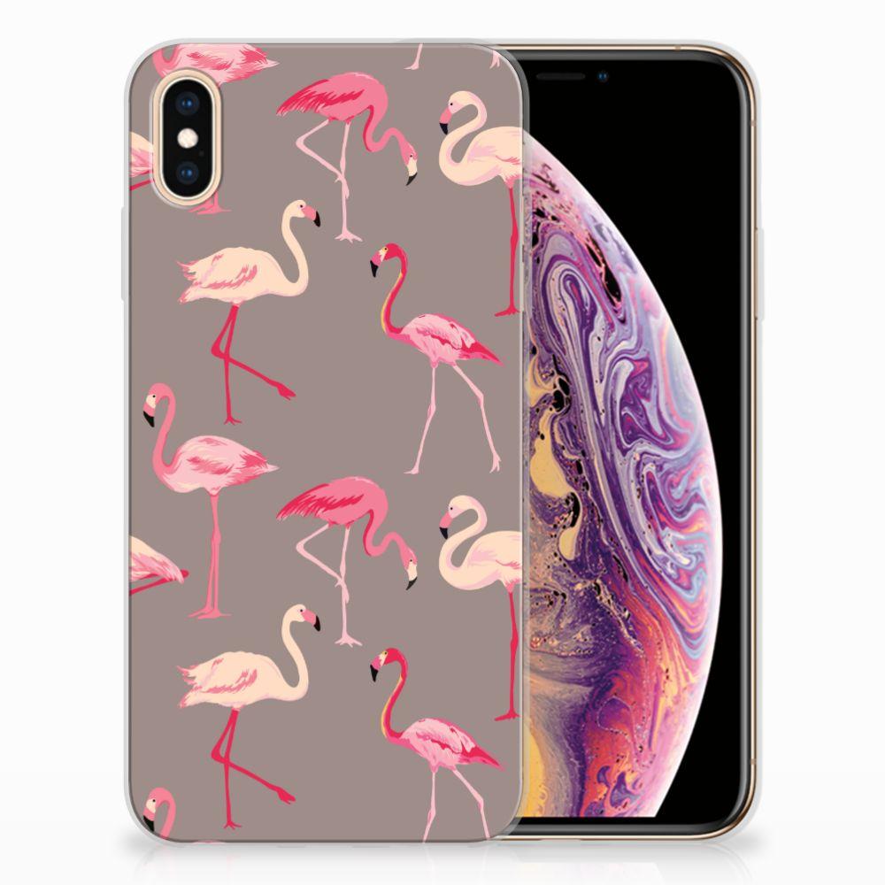 Apple iPhone Xs Max Uniek TPU Hoesje Flamingo