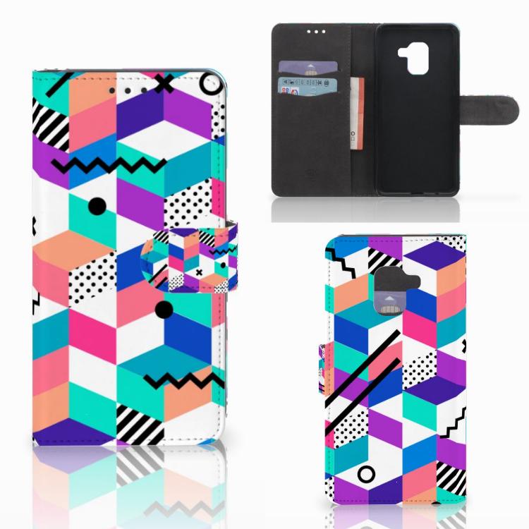 Samsung Galaxy A8 2018 Bookcase Blokken Kleurrijk