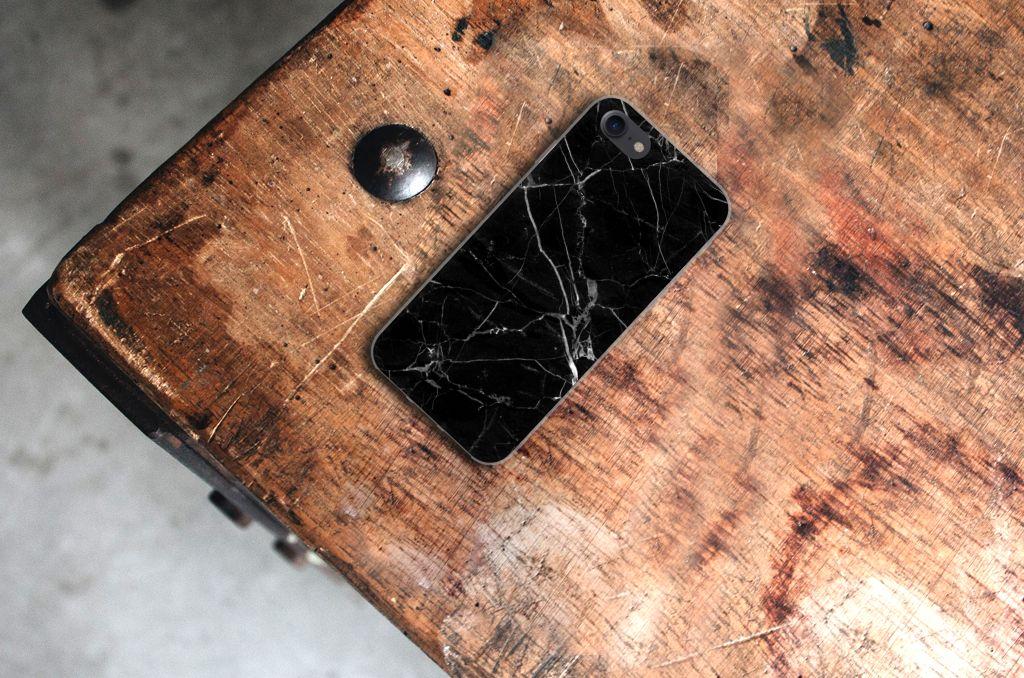 Apple iPhone 7 | 8 TPU Siliconen Hoesje Marmer Zwart