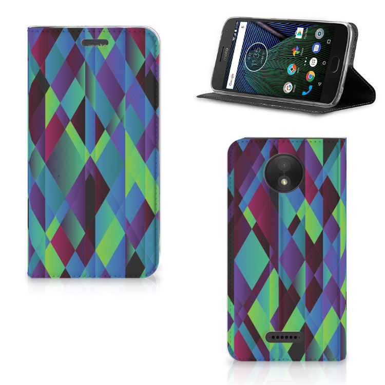 Motorola Moto C Plus Stand Case Abstract Green Blue