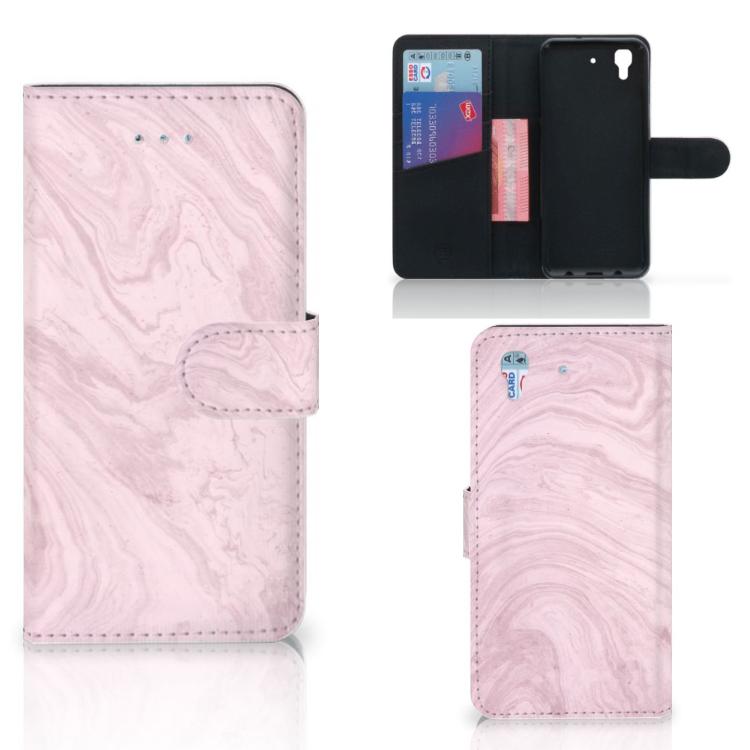 Honor 4A | Y6 Bookcase Marble Pink - Origineel Cadeau Vriendin