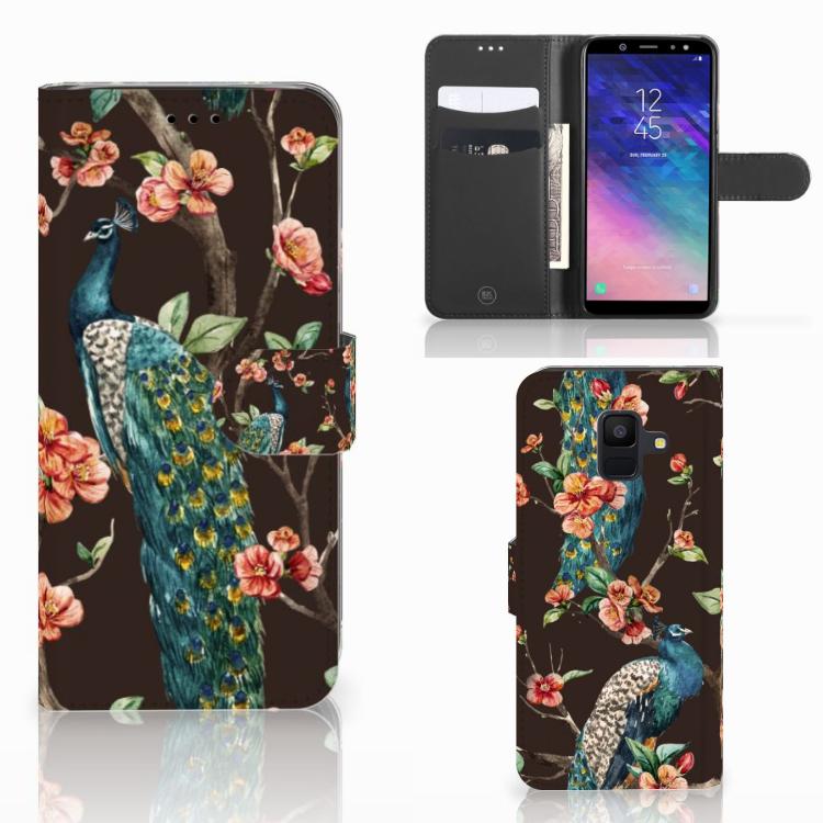 Samsung Galaxy A6 2018 Telefoonhoesje met Pasjes Pauw met Bloemen