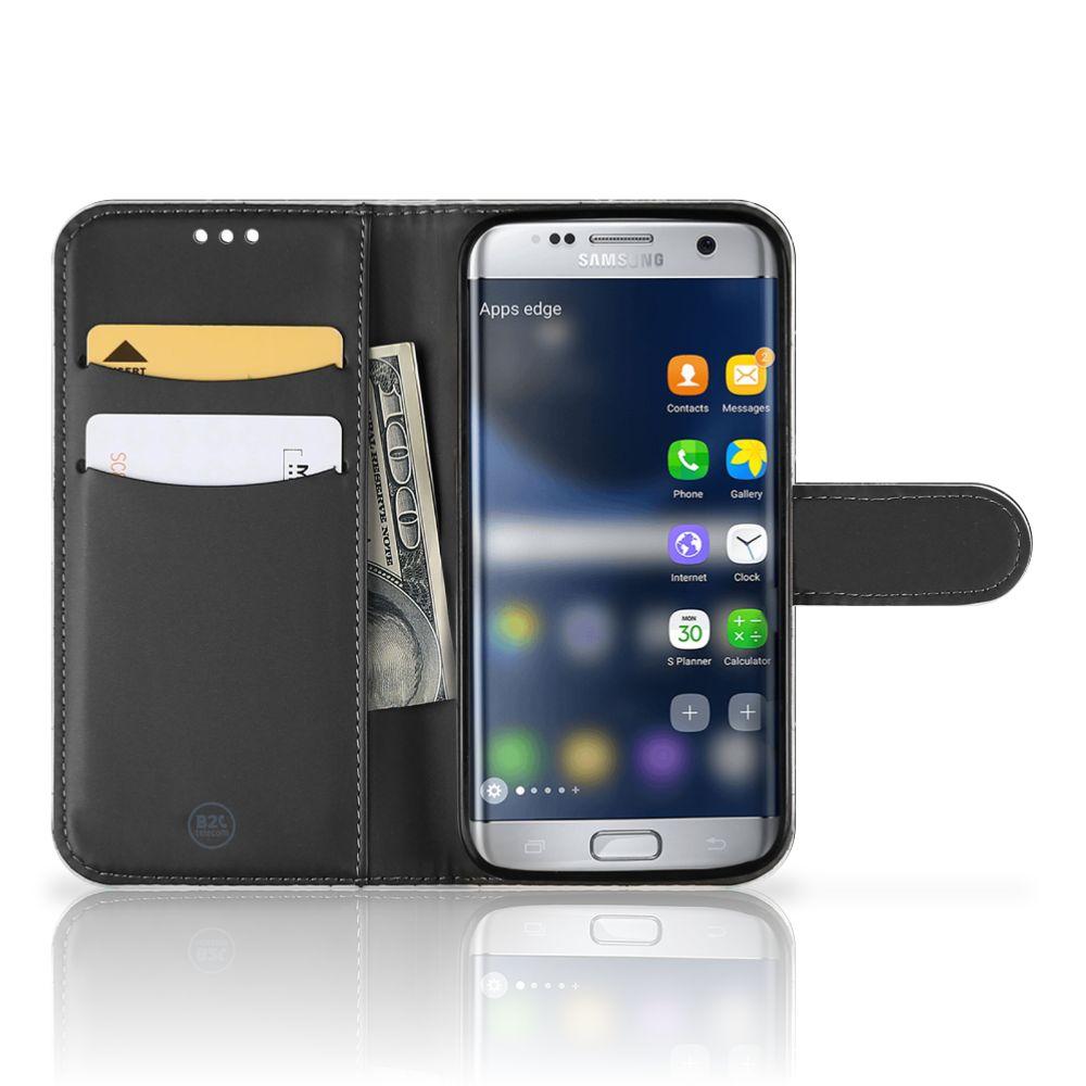 Samsung Galaxy S7 Boekhoesje Marmer Zwart