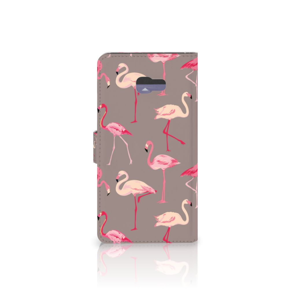 Samsung Galaxy A7 2017 Telefoonhoesje met Pasjes Flamingo