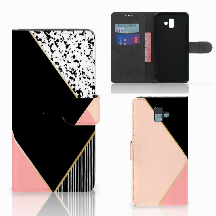 Samsung Galaxy J6 Plus (2018) Bookcase Zwart Roze Vormen