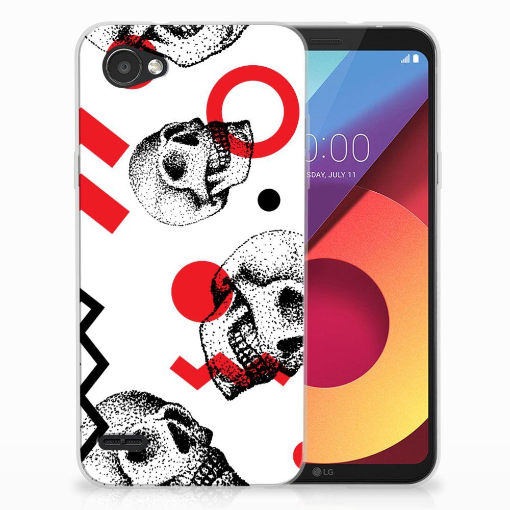Silicone Back Case LG Q6   LG Q6 Plus Skull Red