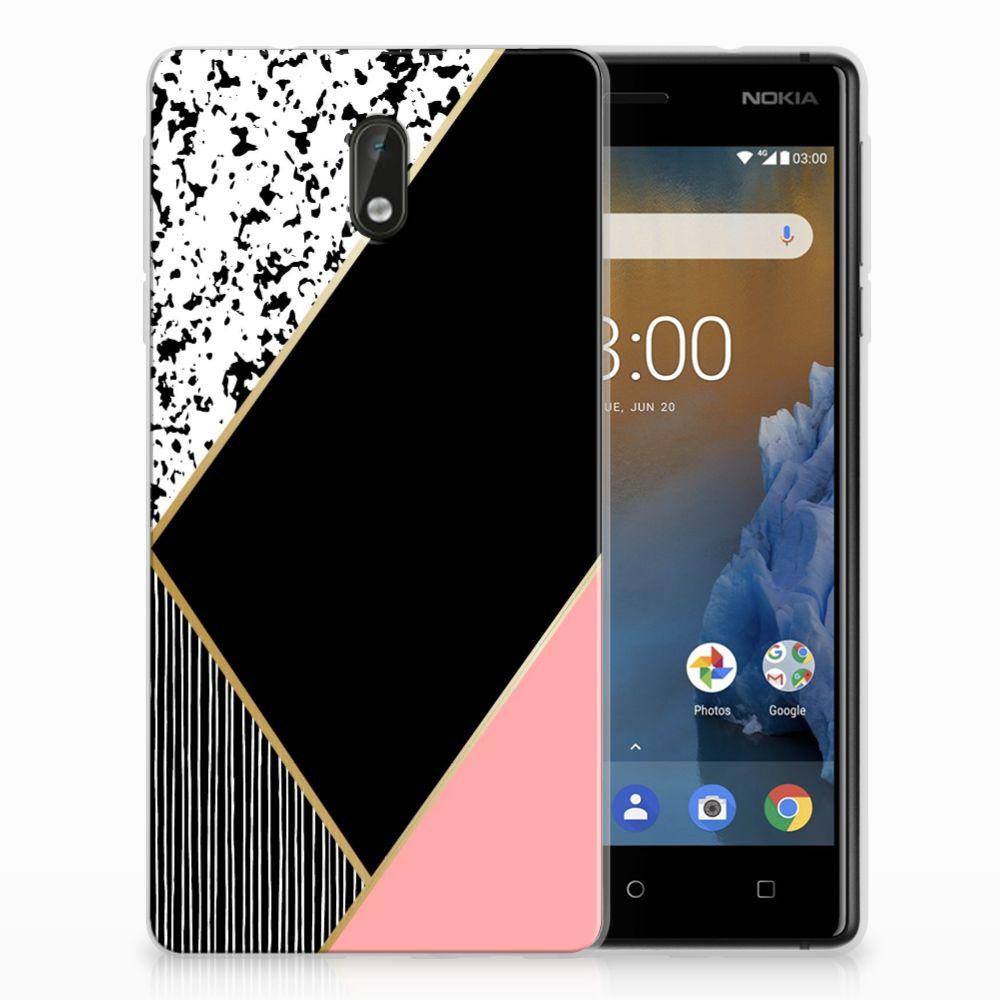 Nokia 3 Uniek TPU Hoesje Black Pink Shapes