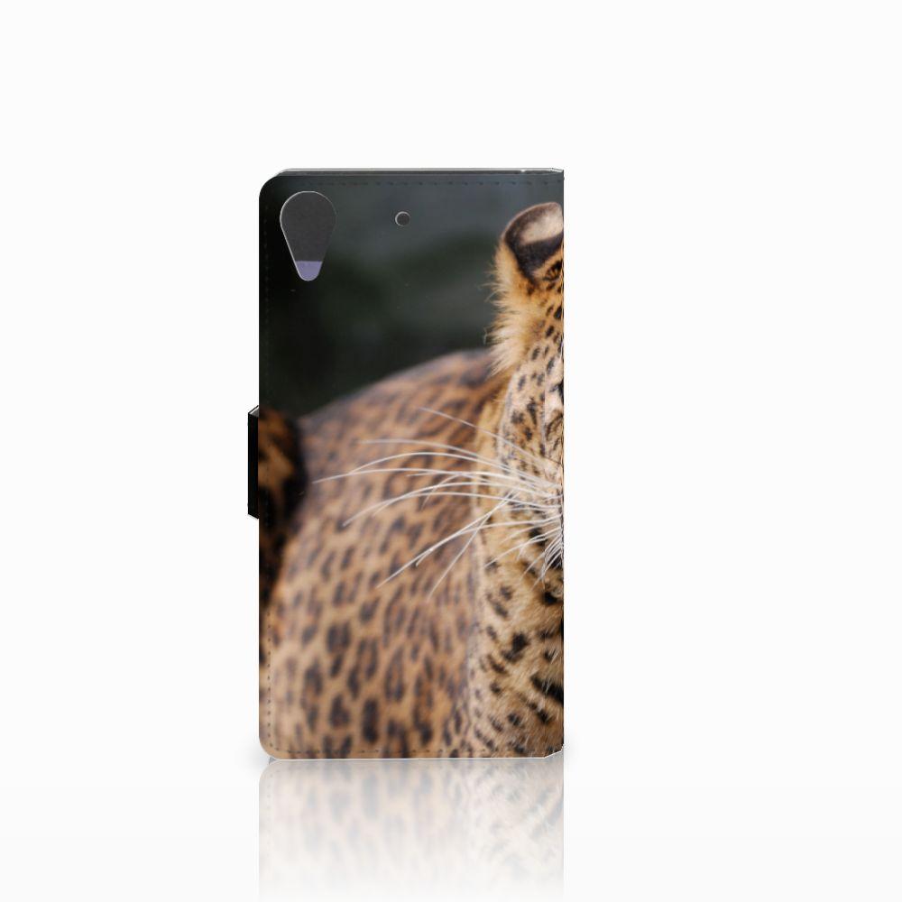 HTC Desire 628 Telefoonhoesje met Pasjes Luipaard
