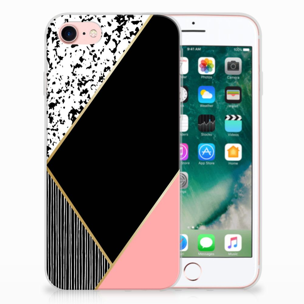 Apple iPhone 7 | 8 Uniek TPU Hoesje Black Pink Shapes