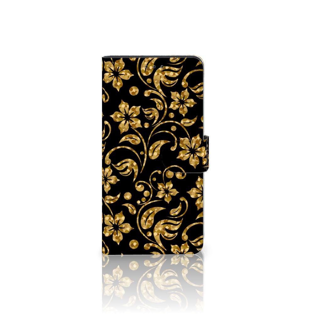Samsung Galaxy A7 (2018) Boekhoesje Design Gouden Bloemen