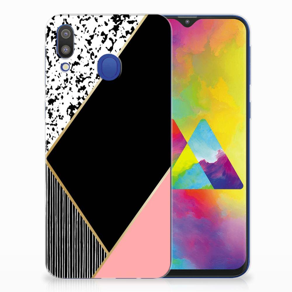Samsung Galaxy M20 (Power) TPU Hoesje Zwart Roze Vormen