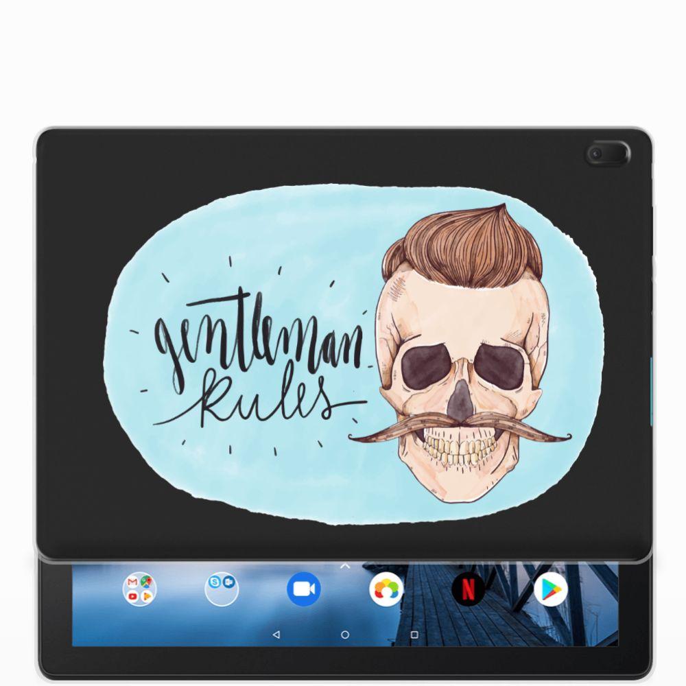 Lenovo Tab E10 Uniek Tablethoesje Gentleman Skull