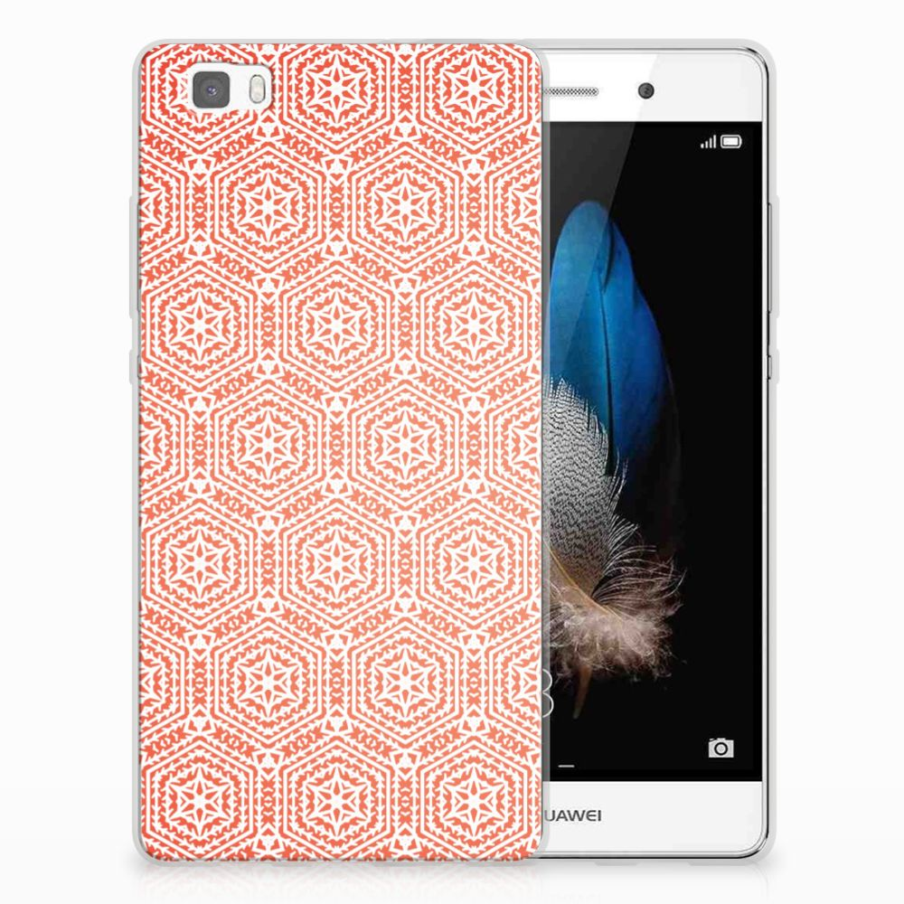 Huawei Ascend P8 Lite TPU bumper Pattern Orange