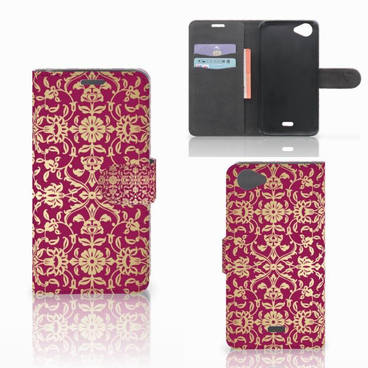 Wallet Case Wiko Rainbow Jam Barok Pink