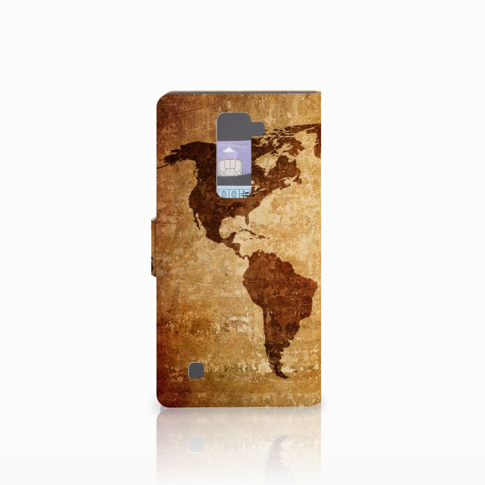LG K10 2015 Flip Cover Wereldkaart