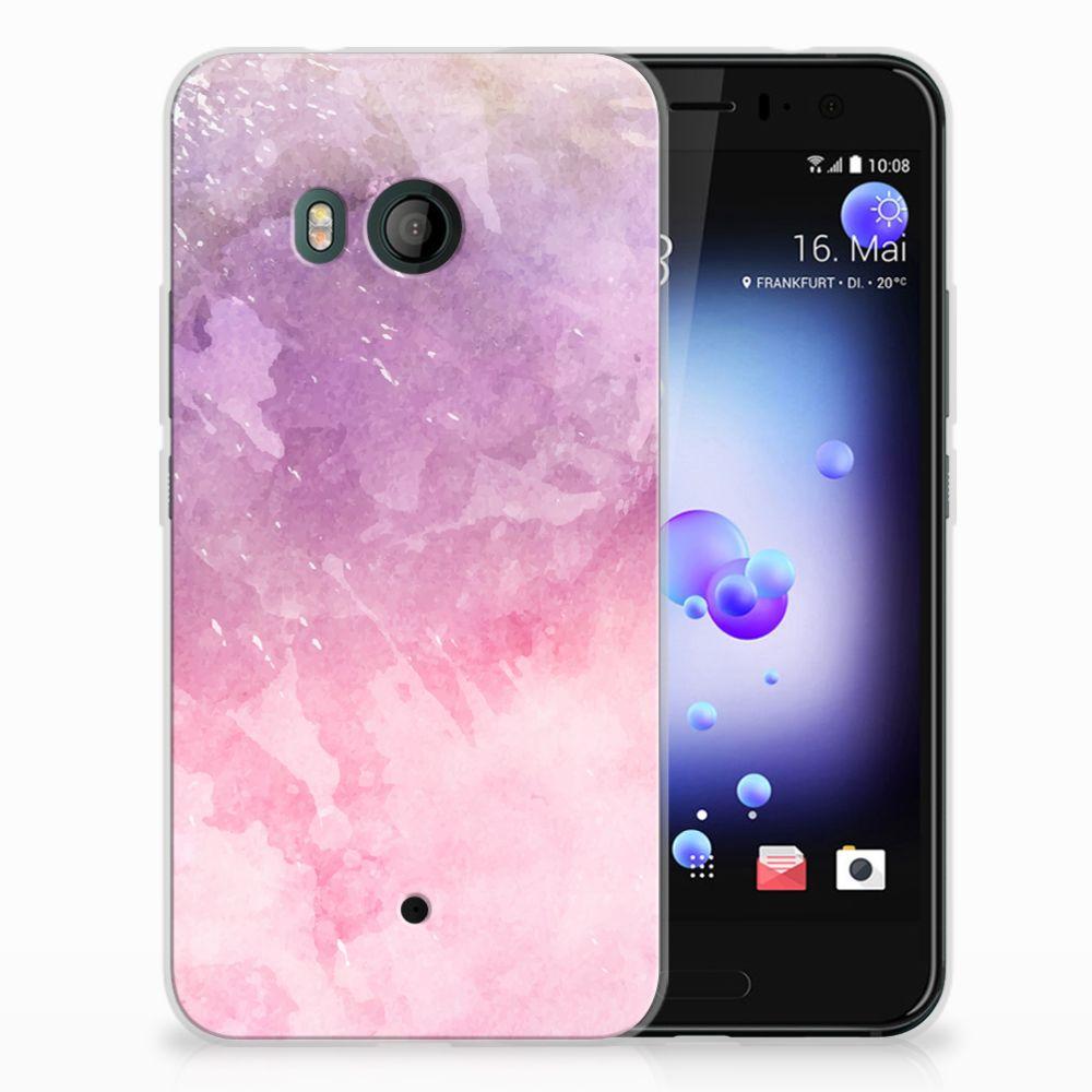 HTC U11 TPU Hoesje Design Pink Purple Paint