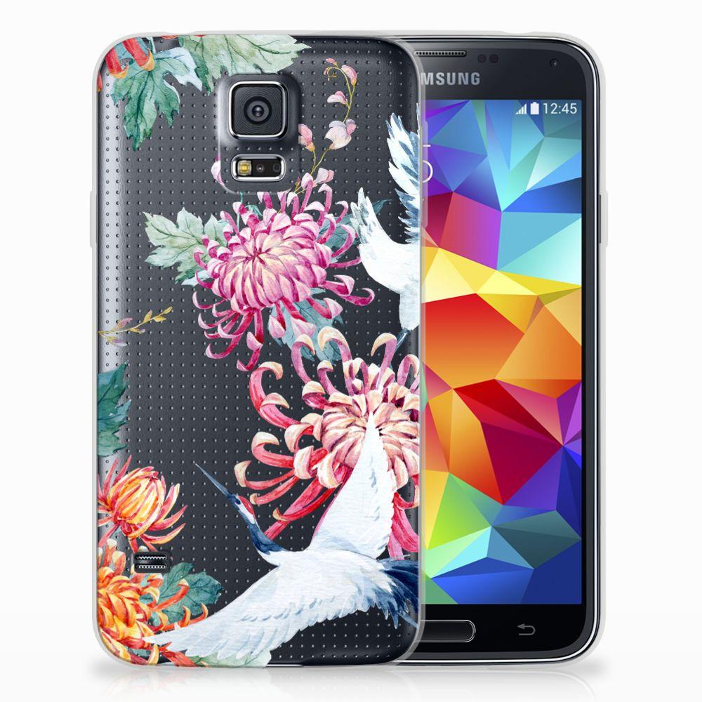Samsung Galaxy S5 Uniek TPU Hoesje Bird Flowers