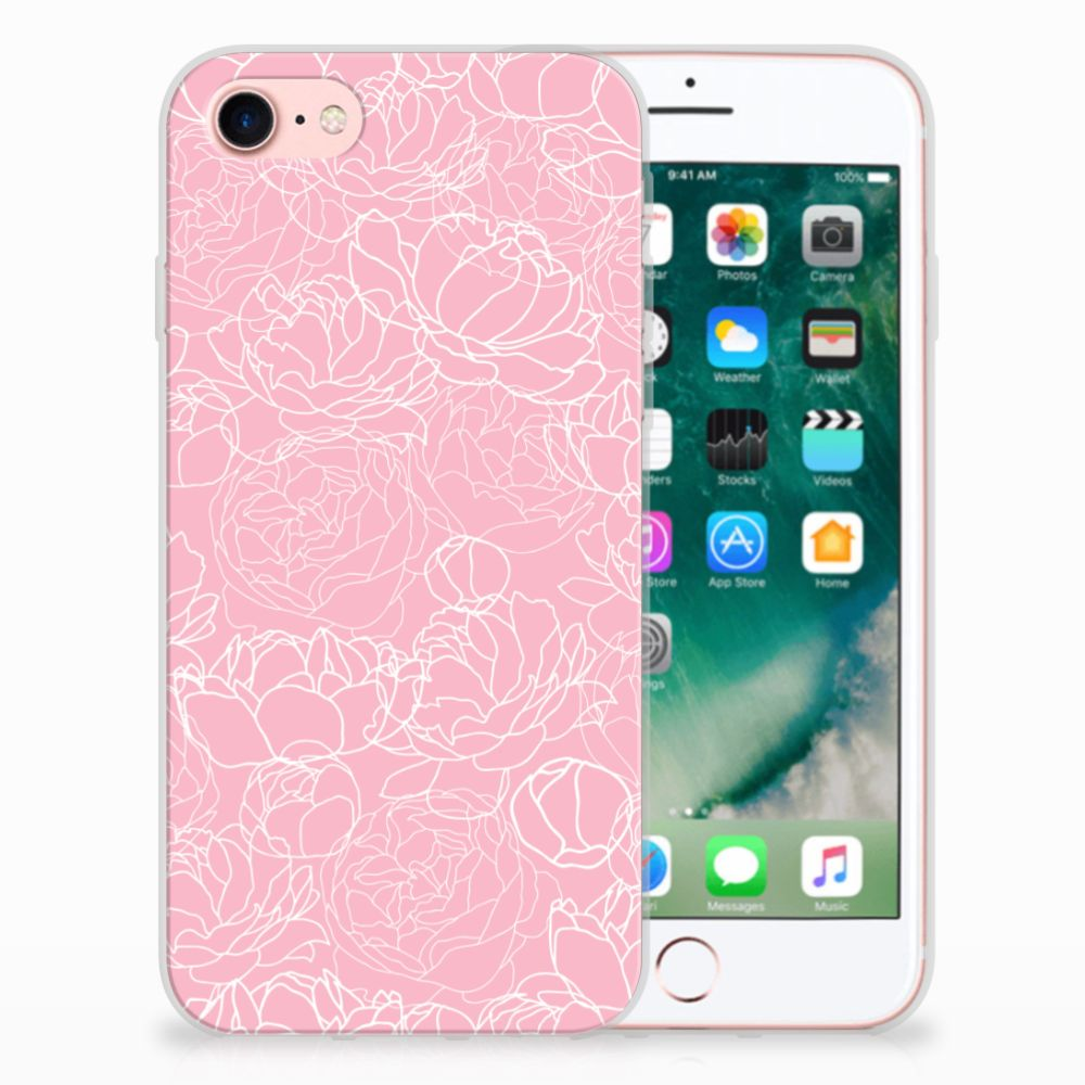 Apple iPhone 7 | 8 TPU Hoesje Design White Flowers