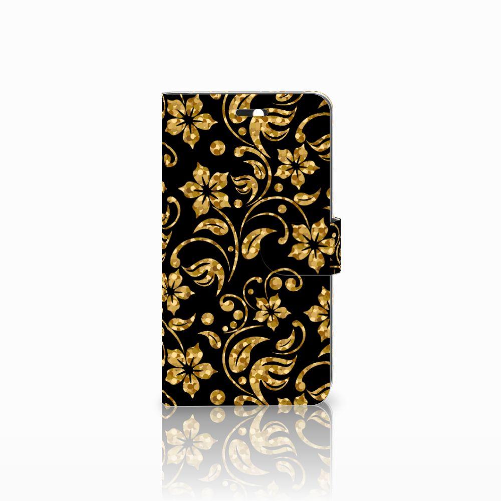 Huawei Y6 II | Honor 5A Boekhoesje Design Gouden Bloemen
