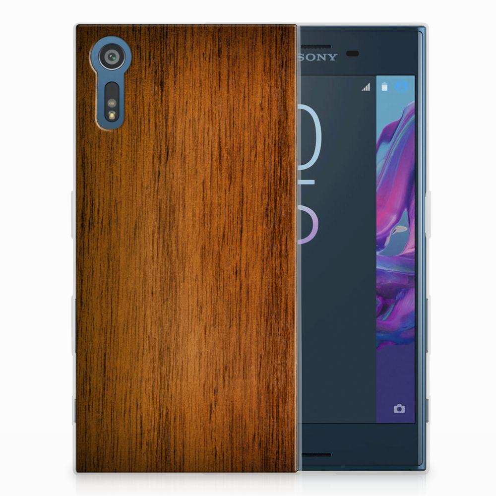 Sony Xperia XZs | XZ Uniek TPU Hoesje Donker Hout
