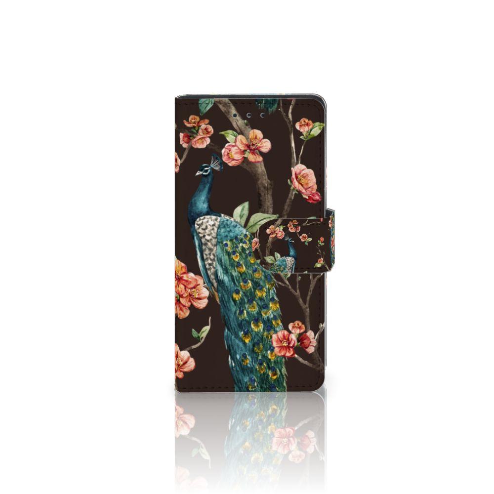 Samsung Galaxy S5 | S5 Neo Telefoonhoesje met Pasjes Pauw met Bloemen