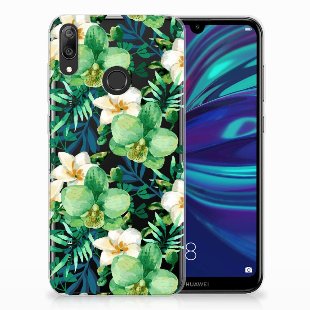 Huawei Y7 2019 Uniek TPU Hoesje Orchidee Groen