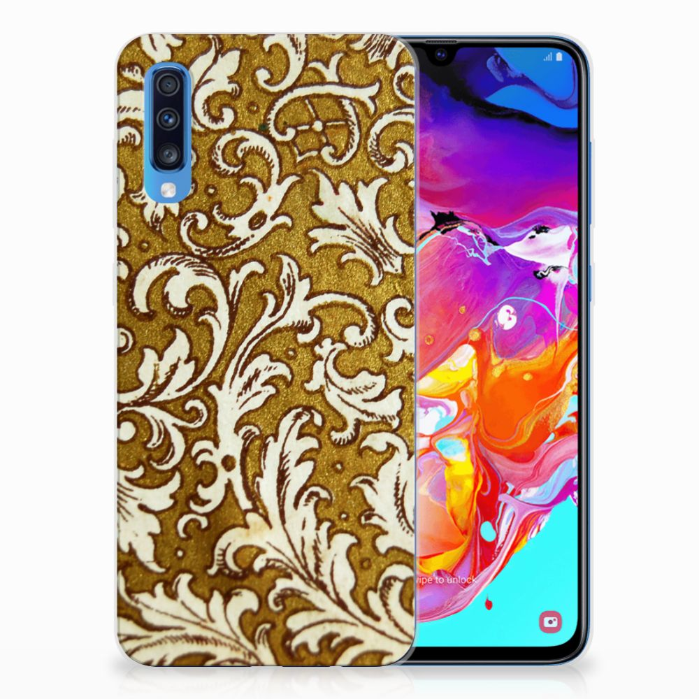Samsung Galaxy A70 TPU Hoesje Design Barok Goud