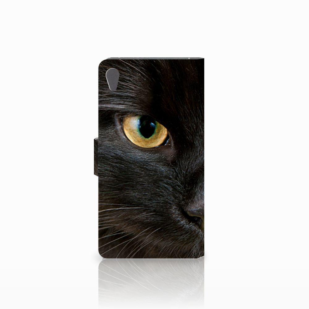 Sony Xperia E5 Telefoonhoesje met Pasjes Zwarte Kat