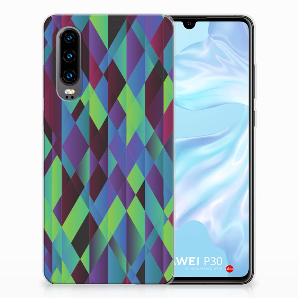 Huawei P30 TPU Hoesje Abstract Green Blue