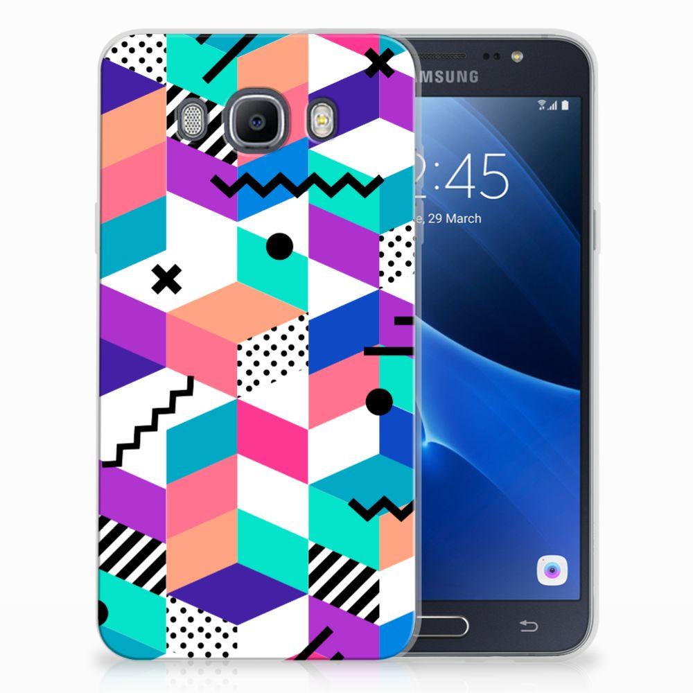 Samsung Galaxy J7 2016 TPU Hoesje Blokken Kleurrijk