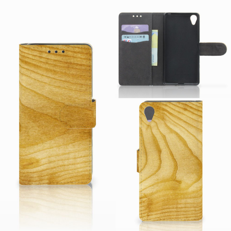 Sony Xperia X Book Style Case Licht Hout