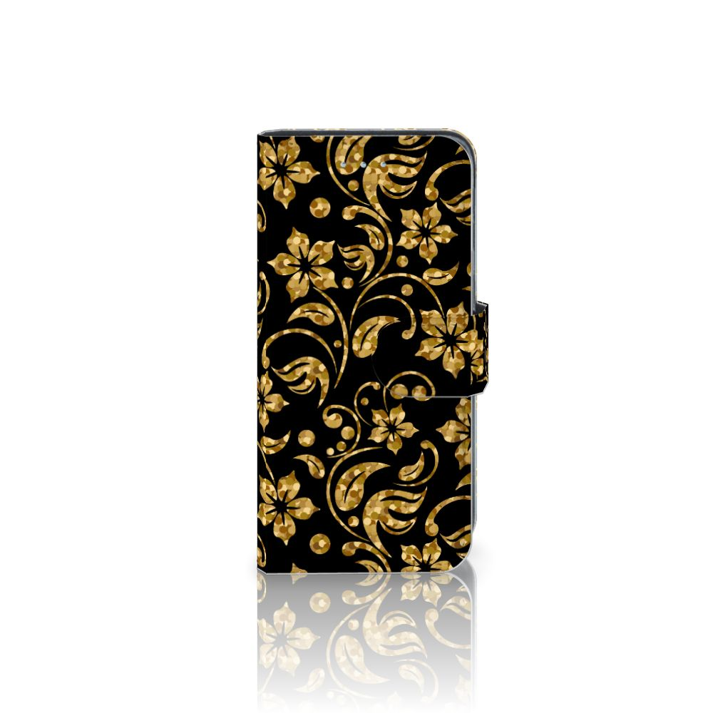 Samsung Galaxy A5 2016 Boekhoesje Design Gouden Bloemen