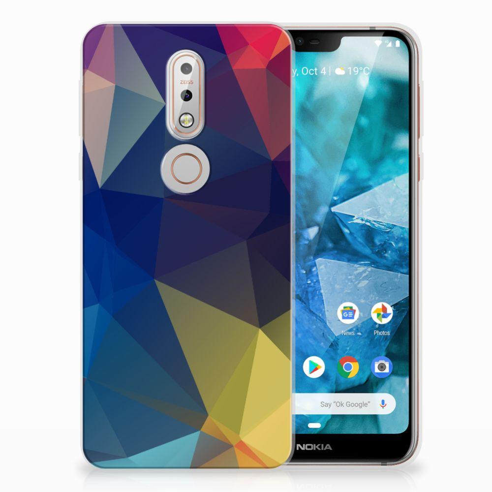 Nokia 7.1 Uniek TPU Hoesje Polygon Dark