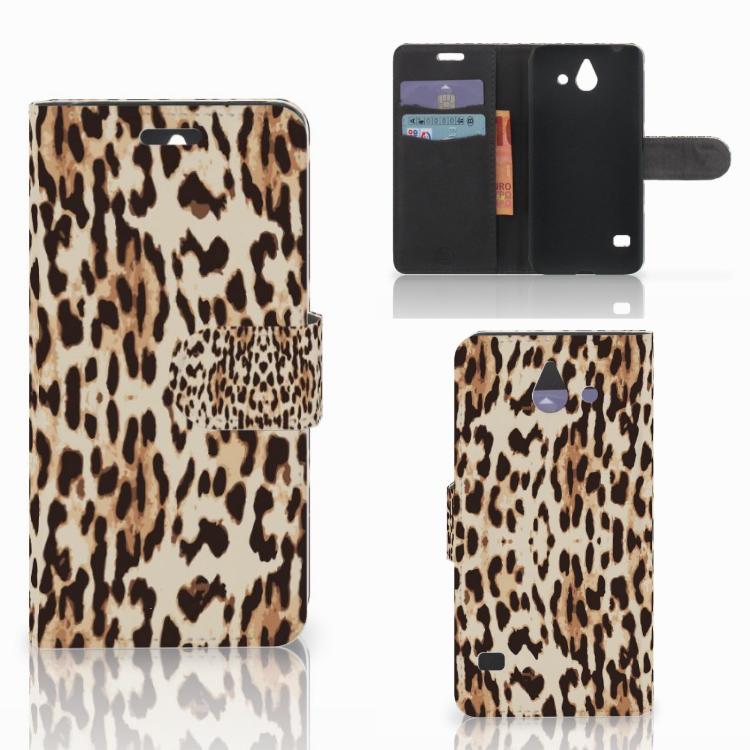 Huawei Ascend Y550 Telefoonhoesje met Pasjes Leopard