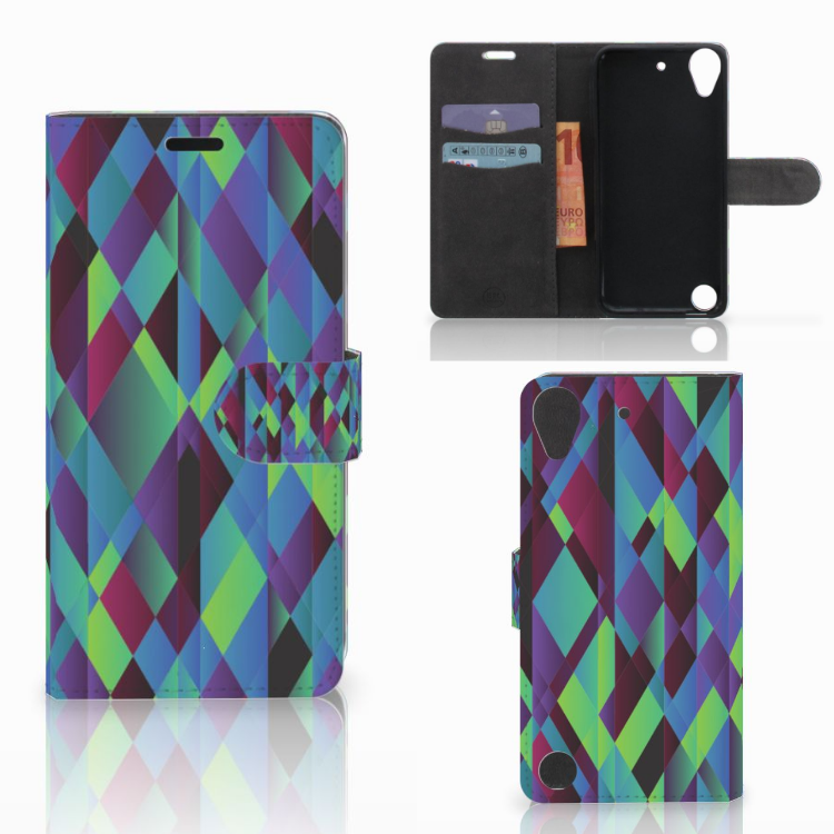 HTC Desire 530 Bookcase Abstract Green Blue