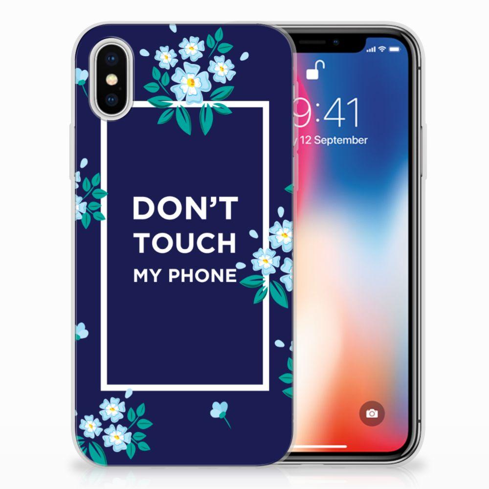 Apple iPhone X | Xs TPU Hoesje Flowers Blue DTMP