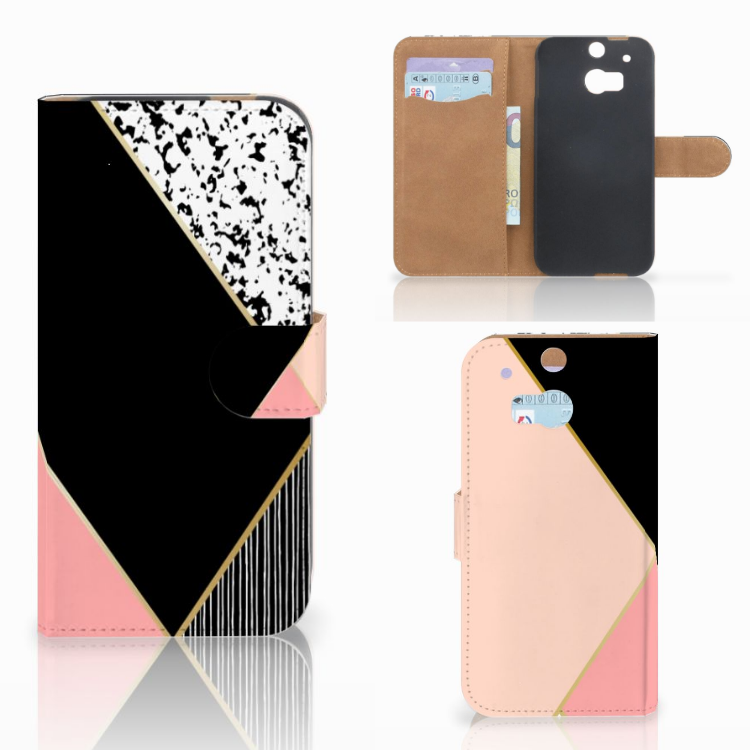 HTC One M8 Bookcase Zwart Roze Vormen