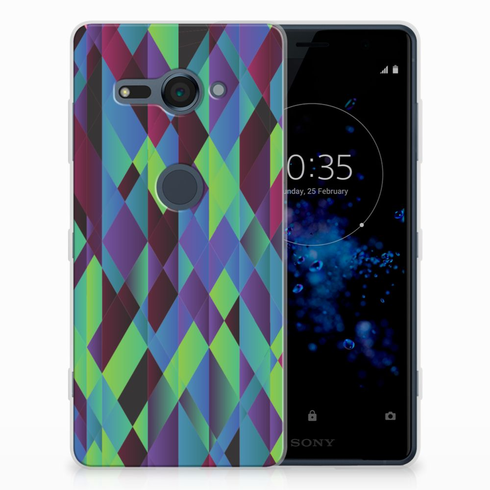 Sony Xperia XZ2 Compact TPU Hoesje Abstract Green Blue