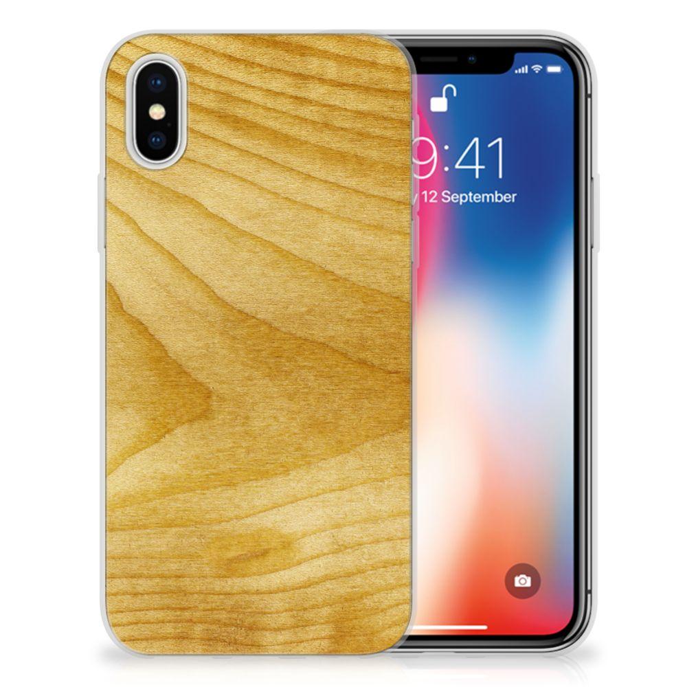 Apple iPhone X | Xs Uniek TPU Hoesje Licht Hout