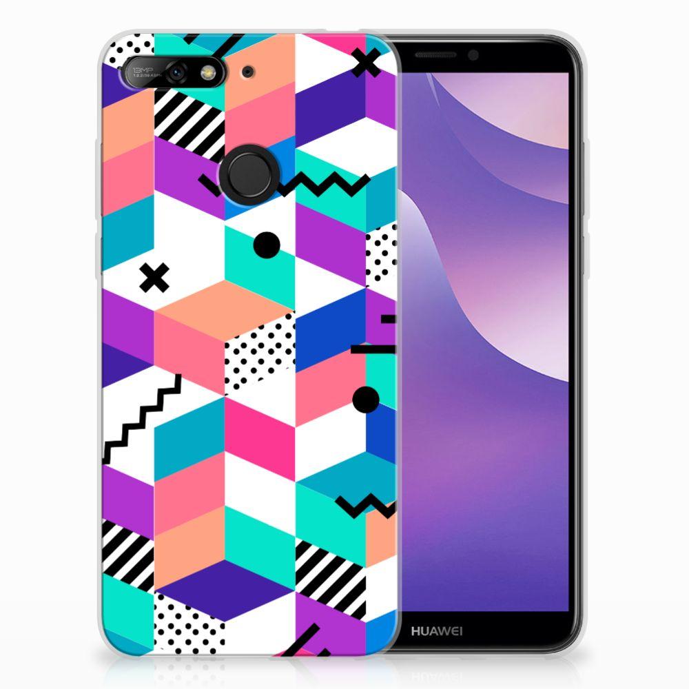 Huawei Y6 (2018) TPU Hoesje Blokken Kleurrijk
