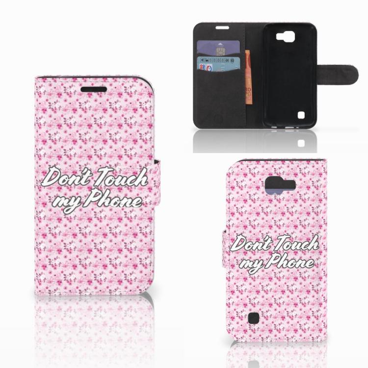 LG K4 Portemonnee hoesje Flowers Pink DTMP