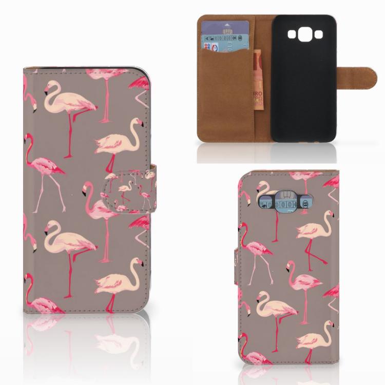 Samsung Galaxy E5 Telefoonhoesje met Pasjes Flamingo