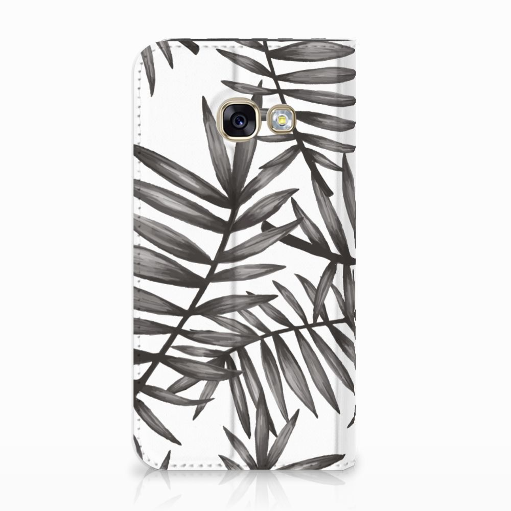 Samsung Galaxy A3 2017 Uniek Standcase Hoesje Leaves Grey