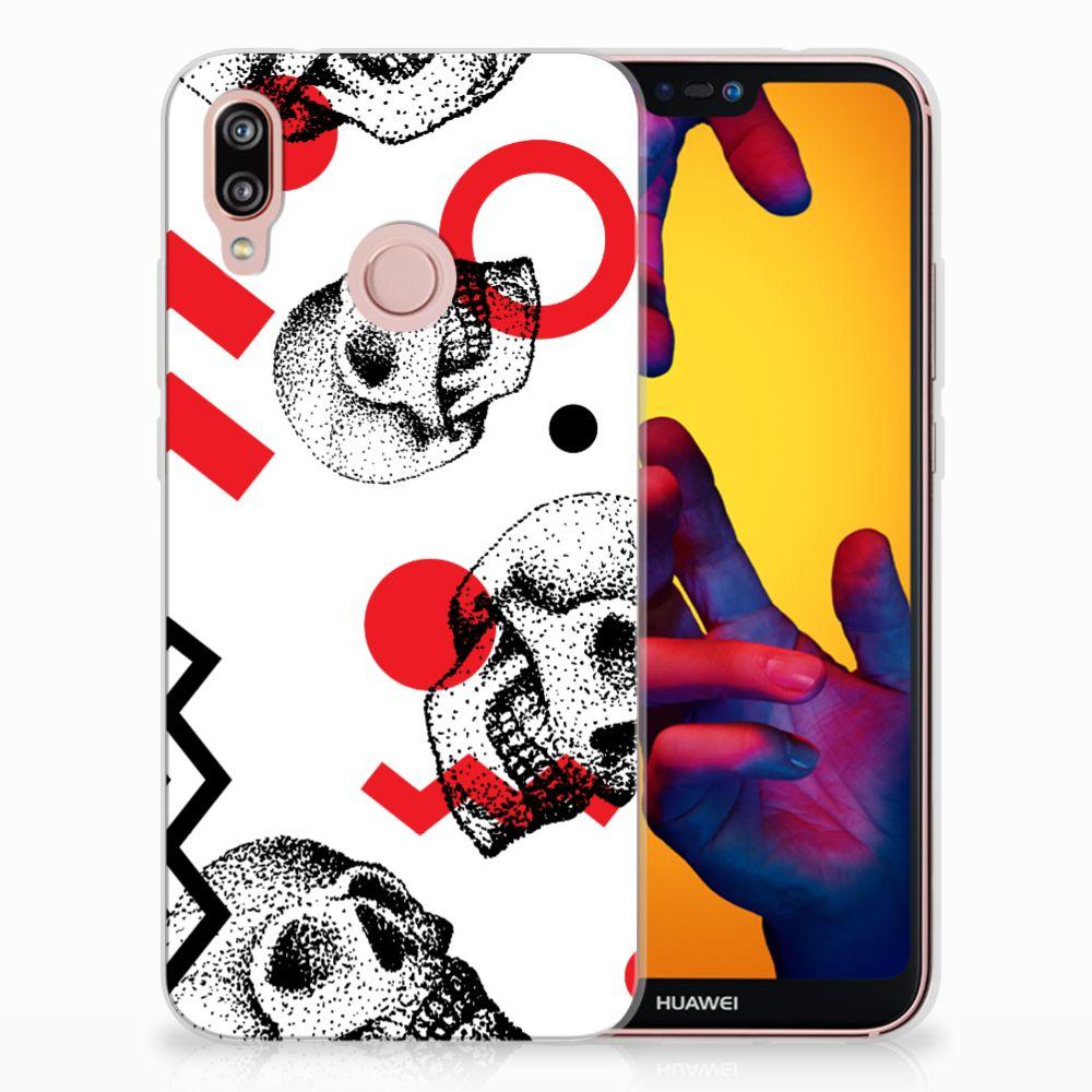 Huawei P20 Lite TPU Hoesje Design Skull Red