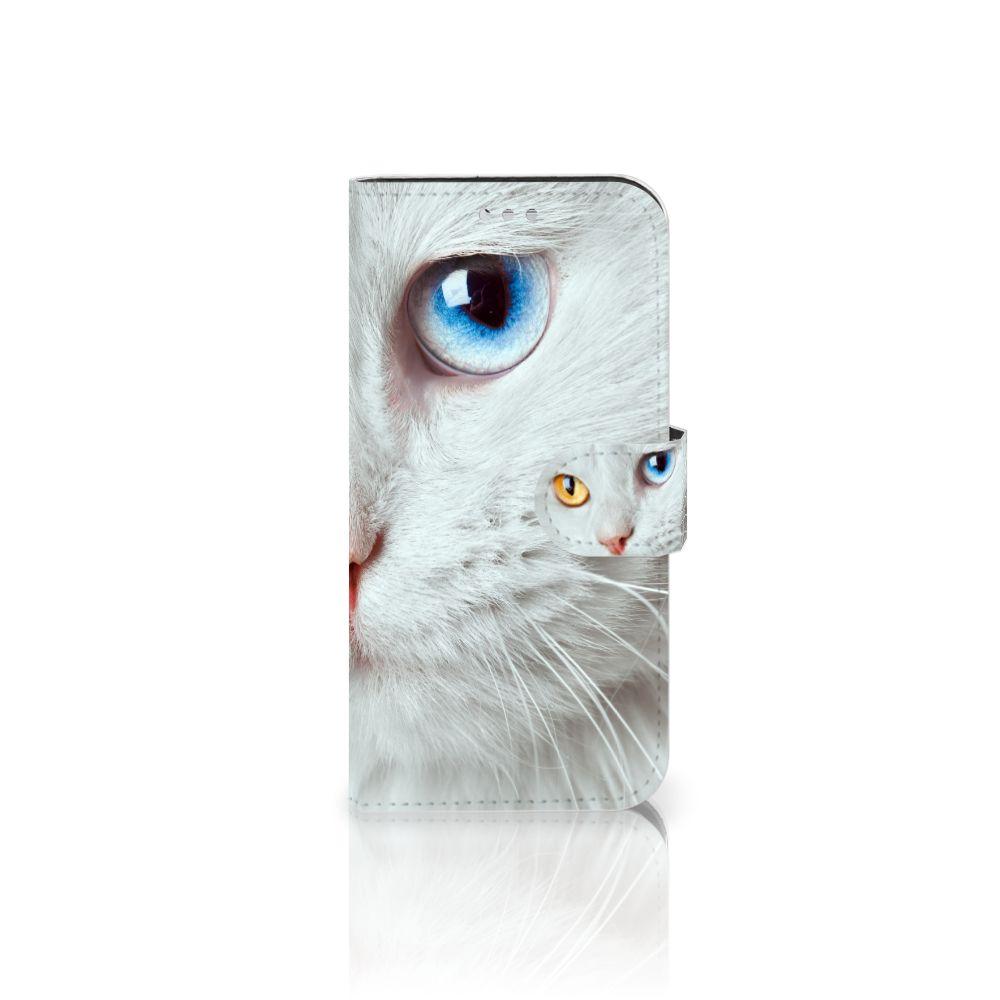 Samsung Galaxy S7 Telefoonhoesje met Pasjes Witte Kat