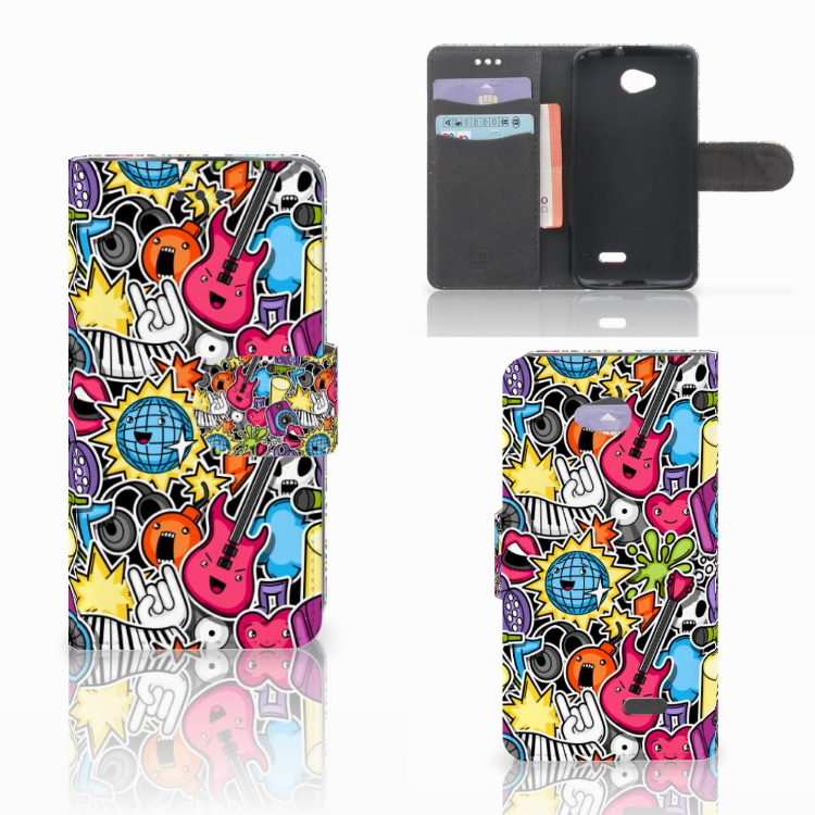 LG L70 Wallet Case met Pasjes Punk Rock