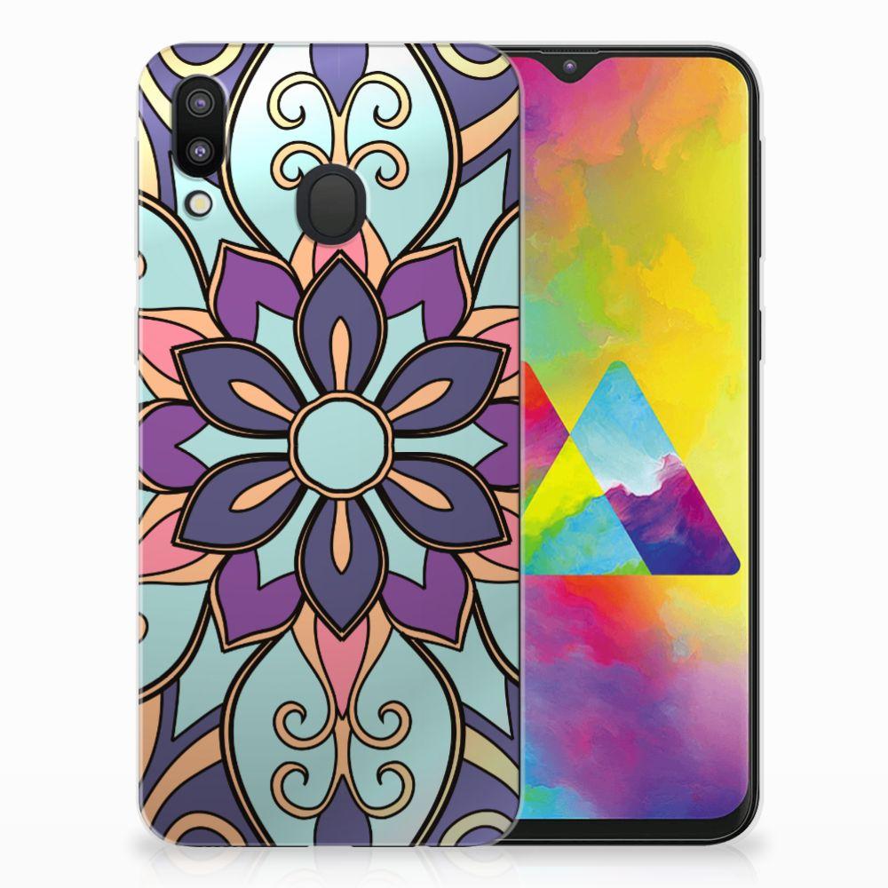 Samsung Galaxy M20 TPU Hoesje Design Purple Flower
